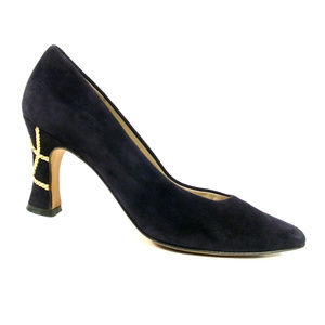 BALLY Bambi Vintage 80's Suede Gold Chain Heels